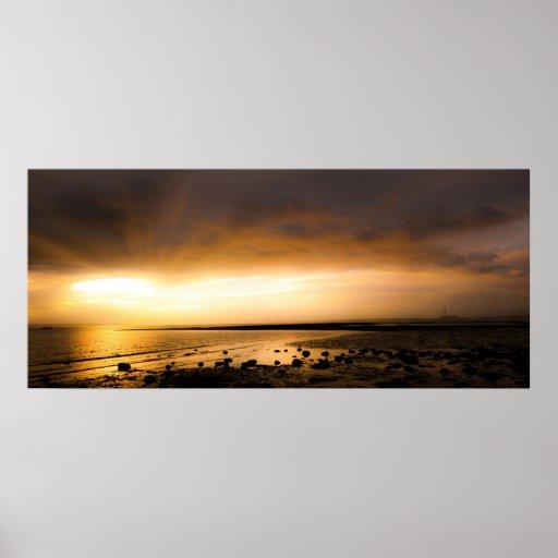 Sunset panoramic scene on Meon beach UK Poster