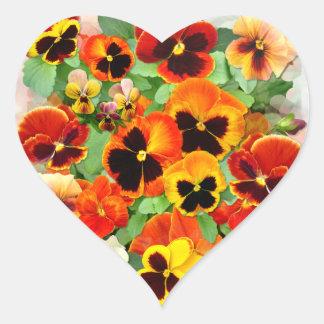 Sunset Pansies Heart Sticker