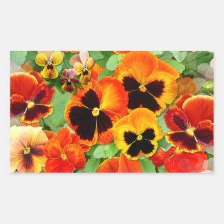 Sunset Pansies Rectangular Sticker