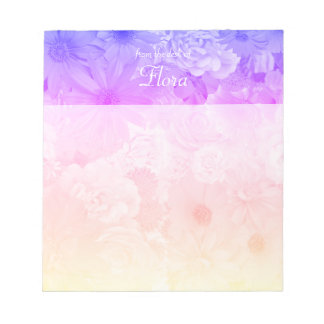 Sunset Pastel Floral Flowers Boho Wedding Notepad