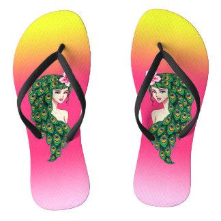 Sunset Peacock Goddess Art Flip Flops / Sandals
