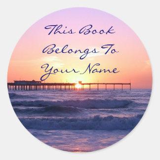 Sunset Pier Bookplate Round Stickers