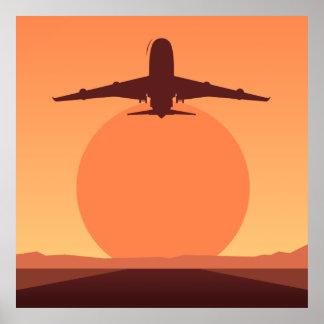 Sunset plane illustration poster