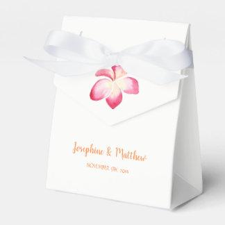 Sunset Plumeria Pink Watercolor Wedding Favour Box