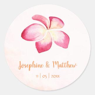 Sunset Plumeria Pink Watercolor Wedding Stickers