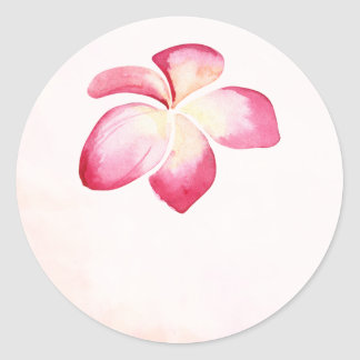 Sunset Plumeria Watercolor Wedding Favor Stickers