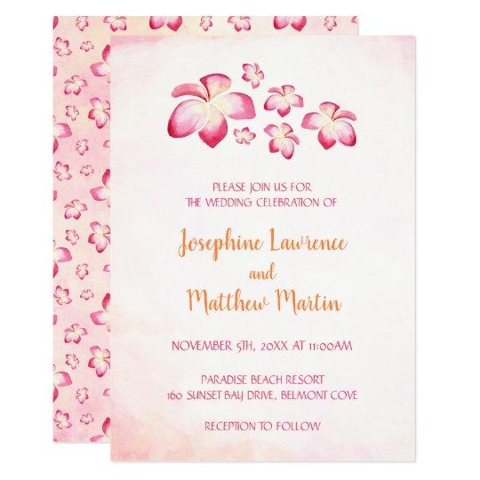 Sunset Plumeria Wedding Invitations