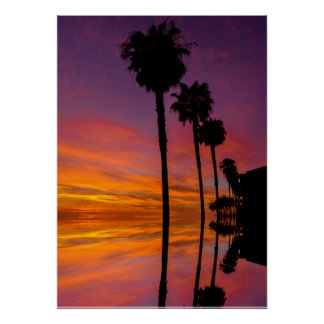 Sunset Poster with Palm trees 20X28