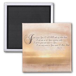 Sunset & Psalms / Inspirational Bible Verses Square Magnet
