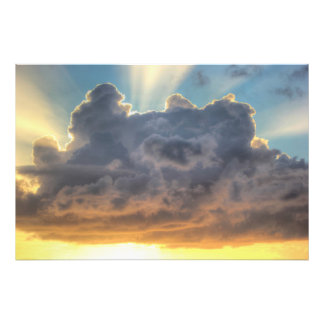 Sunset Rays of Light through Stormy Clouds Photo Art