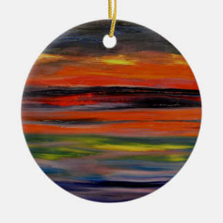 Sunset reflected on the ocean surface christmas ornament
