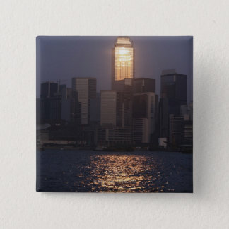 Sunset reflection on Central Plaza, WanChai, 15 Cm Square Badge
