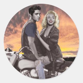 Sunset Ride Classic Round Sticker