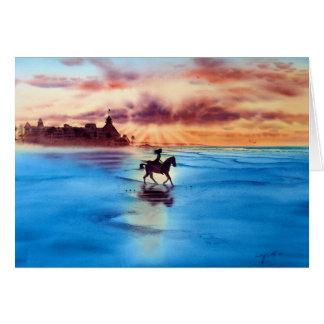 SUNSET RIDE, CORONADO BEACH, CALIFORNIA GREETING CARD