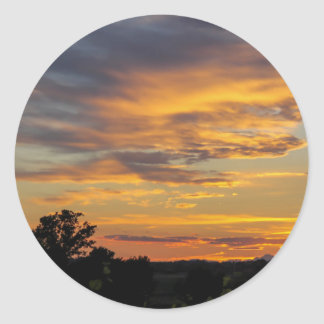 sunset round sticker