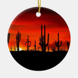 Sunset Saguaros Sonoran Desert Arizona Christmas Ornament
