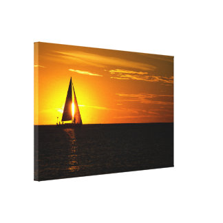 sunset sail on lake canvas print