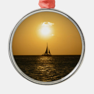 Sunset Sail Silver-Colored Round Decoration