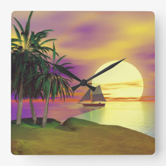 Sunset Sail Wall Clocks