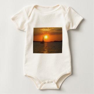 Sunset Sailing Boat Baby Bodysuit