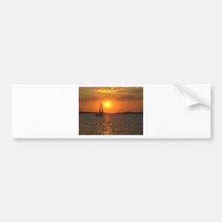 Sunset Sailing Boat Bumper Sticker