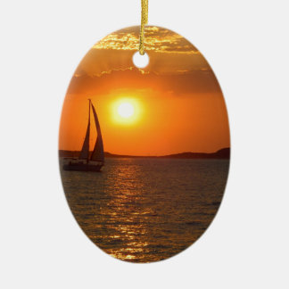 Sunset Sailing Boat Christmas Ornament