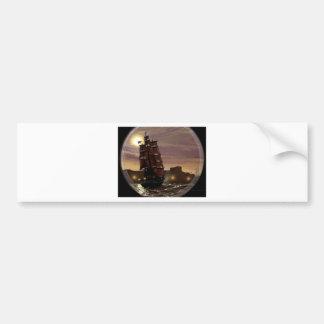 Sunset sailing boat viewed through spyglass. bumper sticker