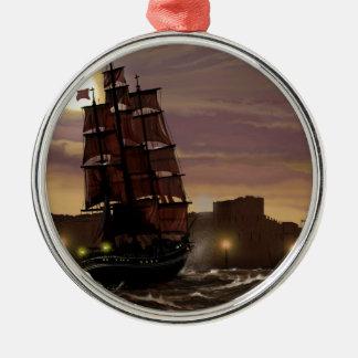 Sunset sailing boat viewed through spyglass. christmas ornament