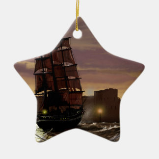 Sunset sailing boat viewed through spyglass. christmas ornament