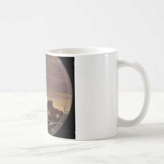 Sunset sailing boat viewed through spyglass. coffee mug