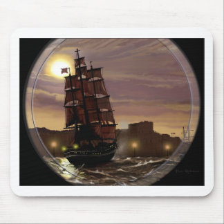 Sunset sailing boat viewed through spyglass. mouse pad