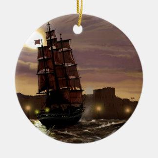 Sunset sailing boat viewed through spyglass. round ceramic decoration