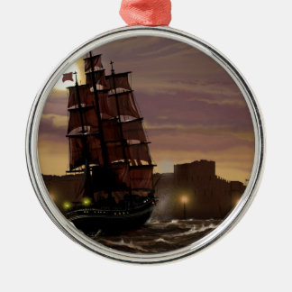Sunset sailing boat viewed through spyglass. Silver-Colored round decoration