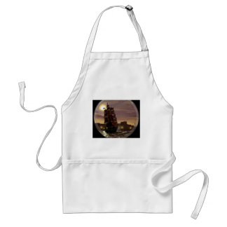 Sunset sailing boat viewed through spyglass. standard apron