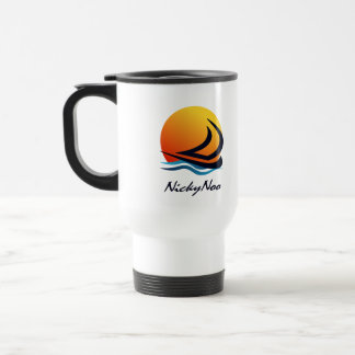 Sunset Sailing Logo + Boat Name Travel Mugs