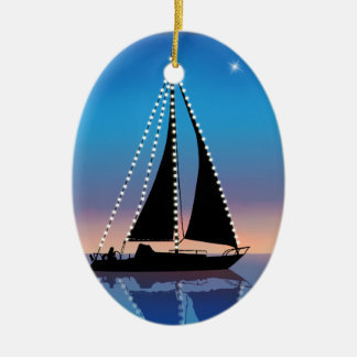Sunset Sails with Holiday Lights Christmas Ornament
