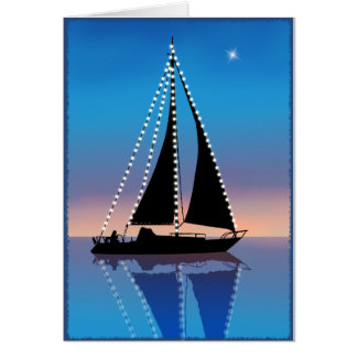 Sunset Sails with Holiday Lights Greeting Card