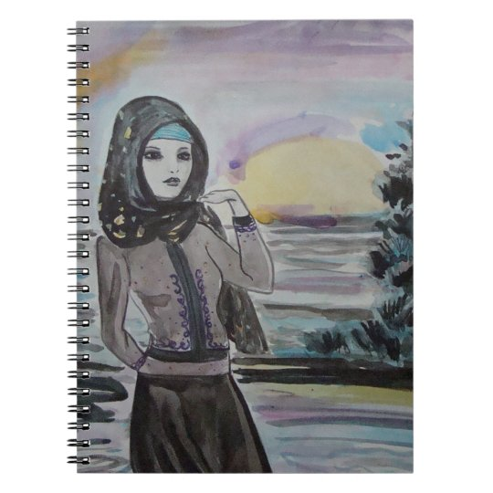 Sunset scarved woman, girl hjiab, muslim spiral notebook