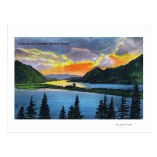 Sunset Scene on the Columbia River Postcard