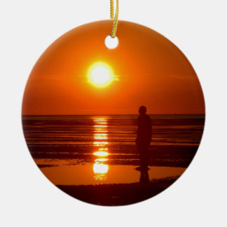 Sunset Scene Round Ceramic Decoration