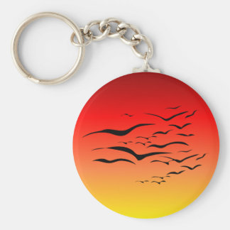 Sunset Sea Gulls Keychain