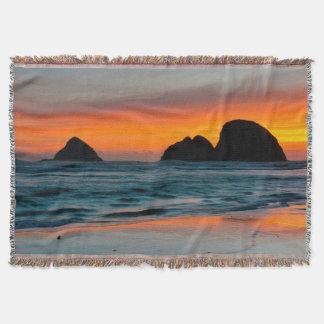 Sunset, Sea Stacks, Oceanside, Oregon, USA Throw Blanket