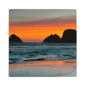 Sunset, Sea Stacks, Oceanside, Oregon, USA Wood Coaster