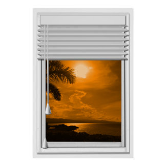 Sunset Sea View Faux Window With Blinds Poster