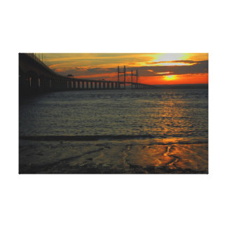 sunset severn bridge canvas print