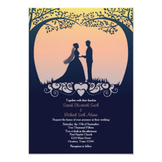 Sunset Silhouette Bride Groom Wedding Invitation