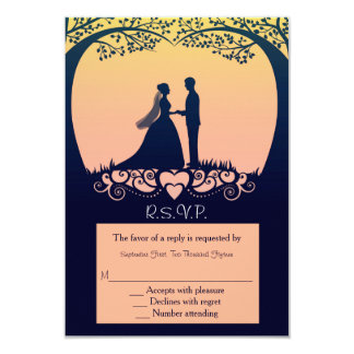Sunset Silhouette Bride Groom Wedding RSVP Reply 9 Cm X 13 Cm Invitation Card
