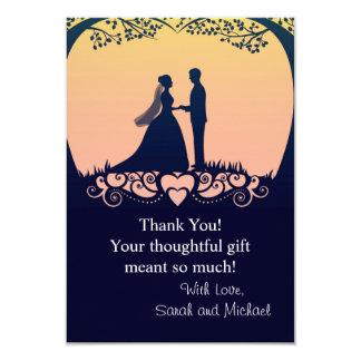 Sunset Silhouette Bride Groom Wedding Thank You 9 Cm X 13 Cm Invitation Card
