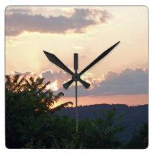 Sunset Silhouette Clock