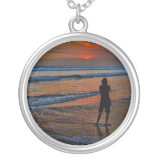 Sunset Silhouette Round Pendant Necklace